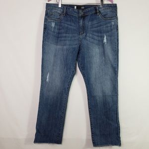 KUT from the Kloth  Straight Leg Raw Ankle Jeans